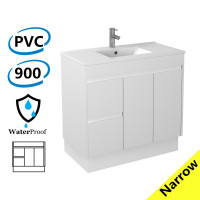 900x360x860mm Narrow Bathroom Vanity Kickboard White PVC Freestanding Left Hand Side Drawers Cabinet ONLY & Ceramic Top Available