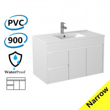 900x360x525mm Narrow Bathroom Floating Wall Hung Vanity White PVC Left Hand Side Drawers Cabinet ONLY & Ceramic Top Available
