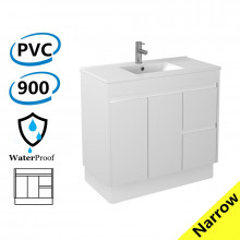 900x360x860mm Narrow Bathroom Vanity Kickboard White PVC Freestanding Right Hand Side Drawers Cabinet ONLY & Ceramic Top Available