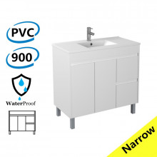 900x360x860mm Narrow Bathroom Vanity Freestanding Right Side Drawers White PVC Cabinet ONLY & Ceramic Top Available