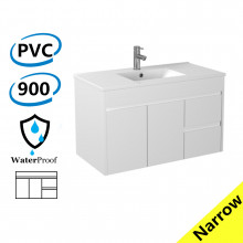 900x360x525mm Narrow Bathroom Floating Wall Hung Vanity White PVC Right Hand Side Drawers Cabinet ONLY & Ceramic Top Available