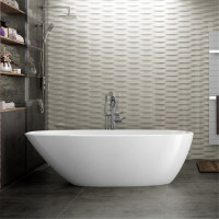 1690x775x585mm Veda Bathtub Freestanding Acrylic Gloss White Bath tub Slim Edge Lucite Finishing NO Overflow