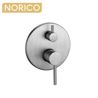 Norico Round Brushed Nickel Shower/Bath Mixer with Diverter Wall Mounted