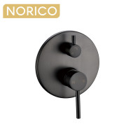 Norico Round Gunmetal Grey Shower/Bath Mixer with Diverter Wall Mounted