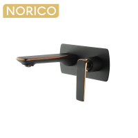 Norico Esperia Matt Black & Rose Gold Solid Brass Wall Mixer with Spout for bathtubs
