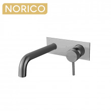 Norico Round Brushed Nickel Bathtub Spout Basin Spout Wall Mixer With Spout Solid Brass Water Spout