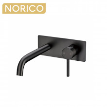 Norico Round Gunmetal Grey Bathtub Spout Basin Spout Wall Mixer With Spout Solid Brass Water Spout