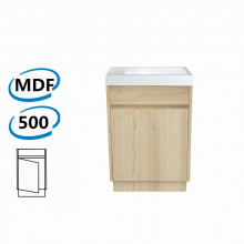 500x250x850mm Bathroom Vanity White Oak Wood Grain Cabinet Poly Top Kickboard Freestanding PVC Filmed Floor Mini