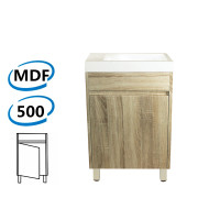 500x250x850mm Mini Bathroom Vanity White Oak Wood Grain Poly Top PVC Filmed Floor Freestanding Narrow