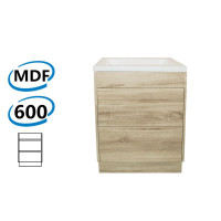 600x460x850mm Bathroom Floor Vanity Freestanding White Oak Wood Grain PVC Filmed Kick-board Cabinet ONLY & Ceramic/Poly Top Available