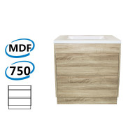 750x460x850mm Bathroom Floor Vanity Freestanding White Oak Wood Grain PVC Filmed Kick-board Cabinet ONLY & Ceramic / Poly Top Available