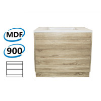900x460x850mm Bathroom Floor Vanity Freestanding White Oak Wood Grain PVC Filmed Kick-board Cabinet ONLY & Ceramic / Poly Top Available