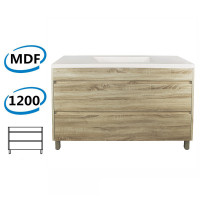1200x460x850mm Bathroom Floor Vanity Freestanding White Oak Wood Grain PVC Filmed Cabinet ONLY & Ceramic / Poly Top Available