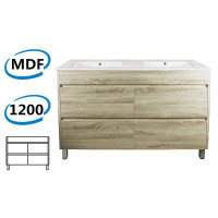 1200x460x850mm Bathroom Floor Vanity Freestanding White Oak Wood Grain PVC Filmed Cabinet ONLY & Double Bowls Ceramic Top