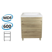 600x460x850mm Bathroom Floor Vanity Freestanding White Oak Wood Grain PVC Filmed Cabinet ONLY & Ceramic/Poly Top Available