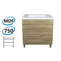 750x460x850mm Bathroom Floor Vanity Freestanding White Oak Wood Grain PVC Filmed Cabinet ONLY & Ceramic/Poly Top Available