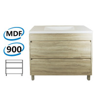 900x460x850mm Bathroom Floor Vanity Freestanding White Oak Wood Grain PVC Filmed Cabinet ONLY & Ceramic / Poly Top Available