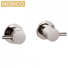 Norico Round Brushed Nickel Shower Wall Taps Solid Brass