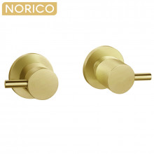 Norico Round Brushed Yellow Gold Shower Wall Taps Solid Brass