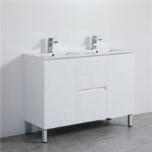 1200mm Freestanding PVC Vanity with Gloss White Finish Double Bowls Cabinet ONLY for Bathroom