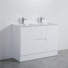 MACHO 1200mm PVC Vanity with Gloss White Finish Double Bowls Freestanding Kickboard Cabinet ONLY for Bathroom