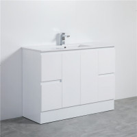 MACHO 1200mm PVC Vanity with Gloss White Finish Single Bowl Kickboard Freestanding Cabinet ONLY for Bathroom