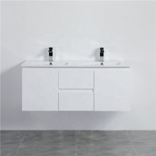 1200mm Wall Hung PVC Vanity with Gloss White Finish Double Bowls Cabinet ONLY for Bathroom