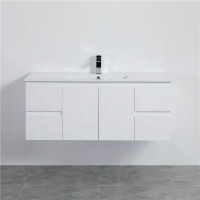 MACHO 1200mm Wall Hung PVC Vanity with Gloss White Finish Single Bowl Cabinet ONLY for Bathroom