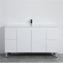 1500mm Freestanding PVC Vanity with Gloss White Finish Single / Double Bowls Cabinet ONLY for Bathroom