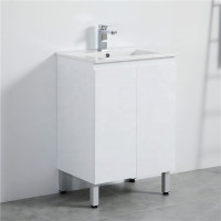 MACHO 600mm Freestanding PVC Vanity with Gloss White Finish Cabinet ONLY for Bathroom