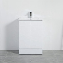 MACHO 600mm PVC Vanity with Gloss White Finish Freestanding Kickboard Cabinet ONLY for Bathroom