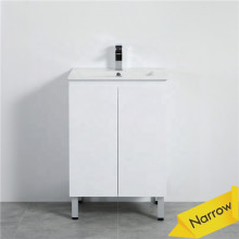 MACHO 600mm Narrow Freestanding PVC Vanity with Gloss White Finish Cabinet ONLY for Bathroom
