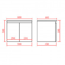 600mm Wall Hung PVC Vanity with Gloss White Finish Cabinet ONLY for Bathroom
