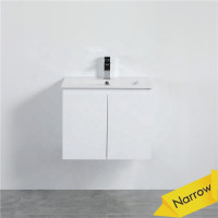 MACHO 600mm Narrow Wall Hung PVC Vanity with Gloss White Finish Cabinet ONLY for Bathroom