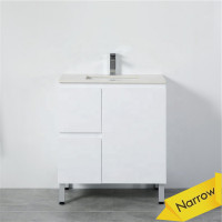 MACHO 750mm Narrow Freestanding PVC Vanity with Gloss White Finish Left / Right Drawers Cabinet ONLY for Bathroom