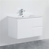 MACHO 750mm Wall Hung PVC Vanity with Gloss White Finish Left / Right Drawers Cabinet ONLY for Bathroom