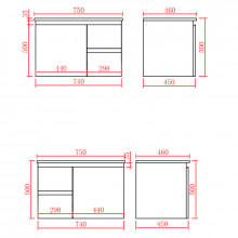 750mm Wall Hung PVC Vanity with Gloss White Finish Left / Right Drawers Cabinet ONLY for Bathroom