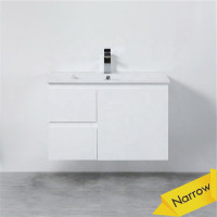 MACHO 760mm Narrow Wall Hung PVC Vanity with Gloss White Finish Left / Right Drawers Cabinet ONLY for Bathroom