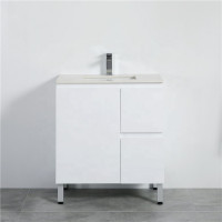 MACHO 750mm Freestanding PVC Vanity with Gloss White Finish Left / Right Drawers Cabinet ONLY for Bathroom