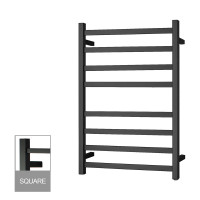 912x620x120mm Square Nero Black Electric Heated Towel Rack 8 Bars