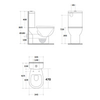 625x345x805mm Zion Closed Couple Toilet Suite Ceramic White Box Rim P-TRAP ONLY